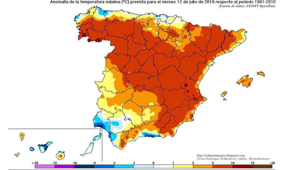 Anomalía de las temperaturas máximas previstas para el viernes, 12 de julio / @crballesteros
