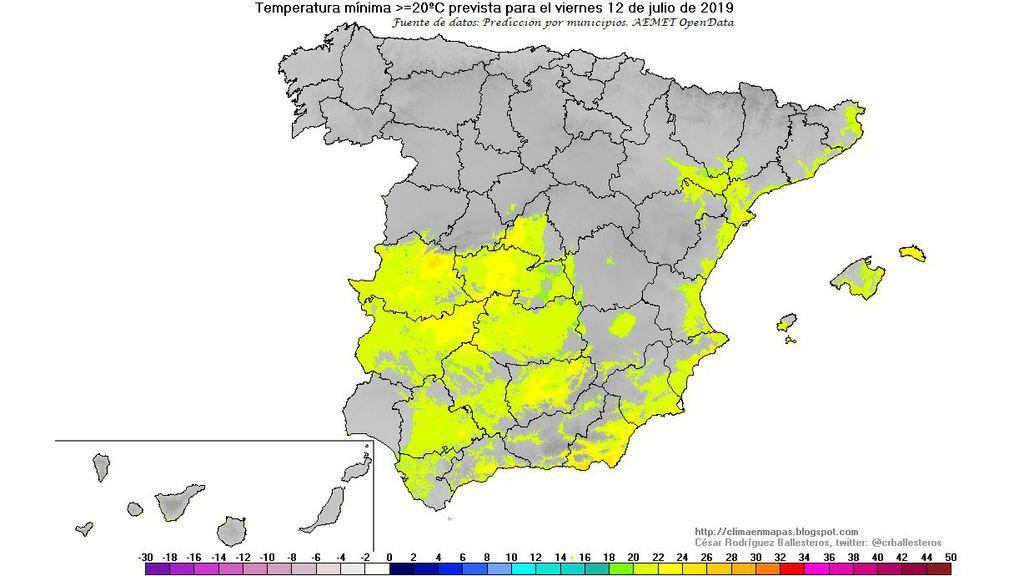 Temperaturas mínimas ≥ 20ºC previstas para la madrugada del viernes / @crballesteros