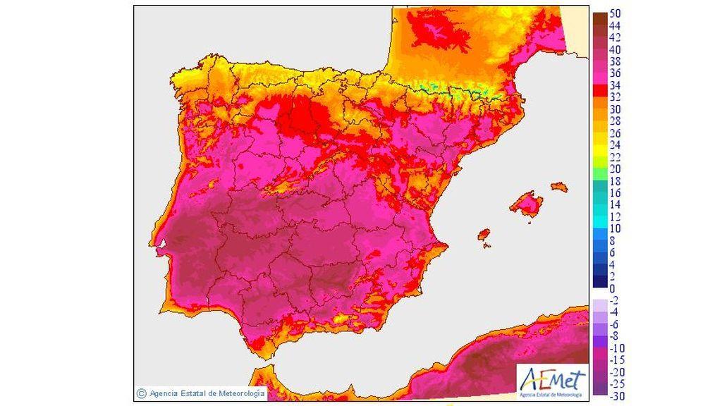 Teperaturas máximas del jueves, 11 de julio, en la península y Baleares