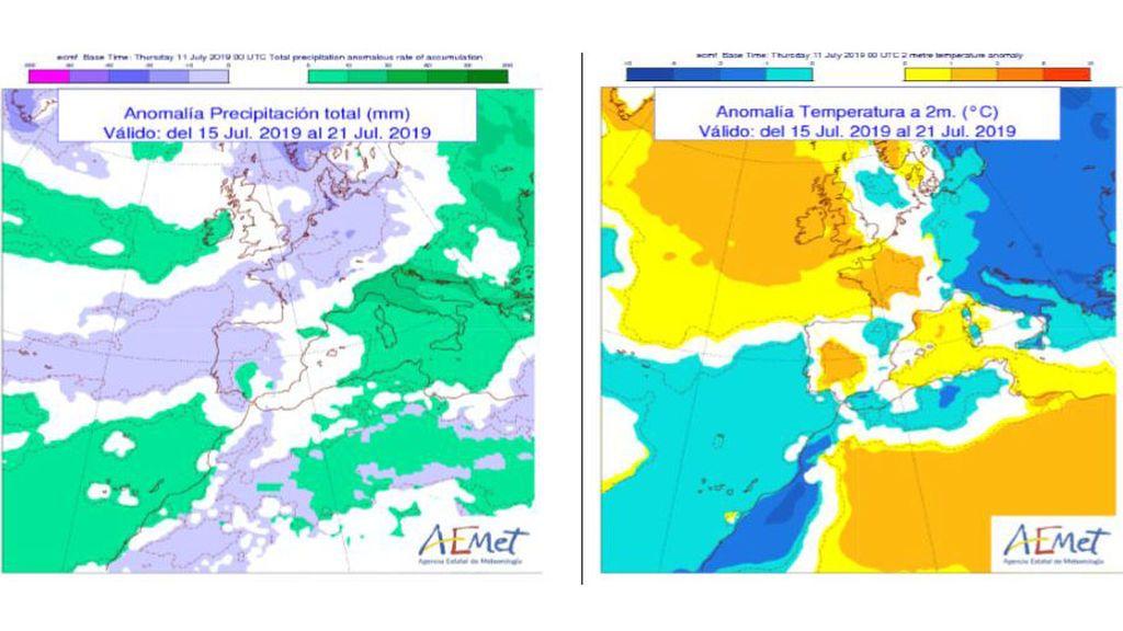 Aomalía de la temperatura y precipitación media previstas para la semana que viene / Aemet