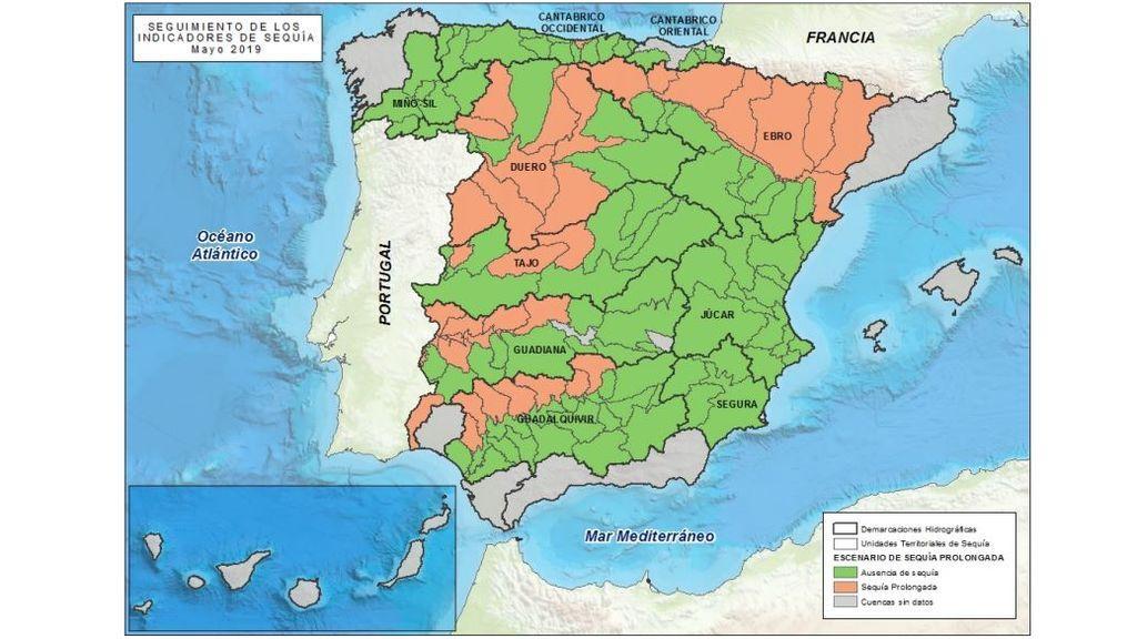 Mapa de situación respecto de la sequía prolongada, mayo de 2019 / Miteco