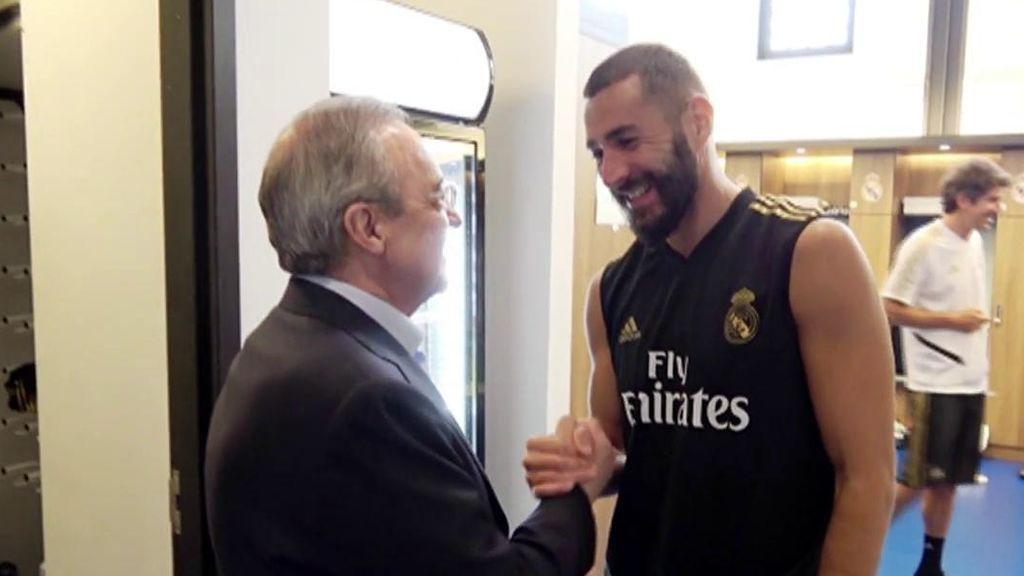 Florentino Pérez visitó a los jugadores del Real Madrid en Canadá