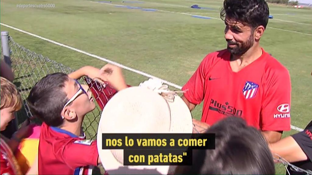 """La reacción de Diego Costa cuando un aficionado le dice """"Este año nos vamos a comer a Griezmann por irse"""""""