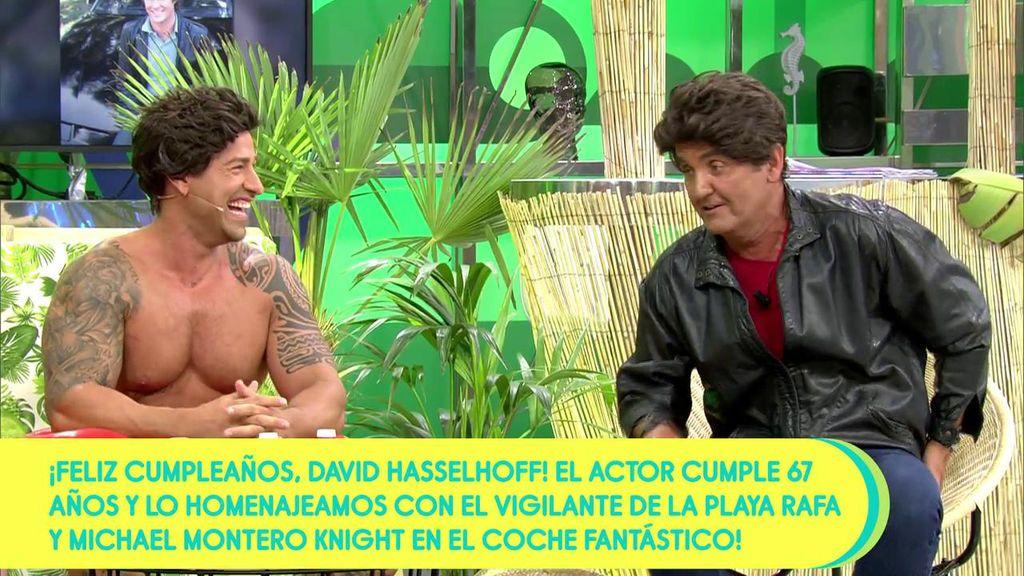 Rafa Mora y Antonio Montero se convierten en David Haseelhoff para celebrar el cumpleaños del actor