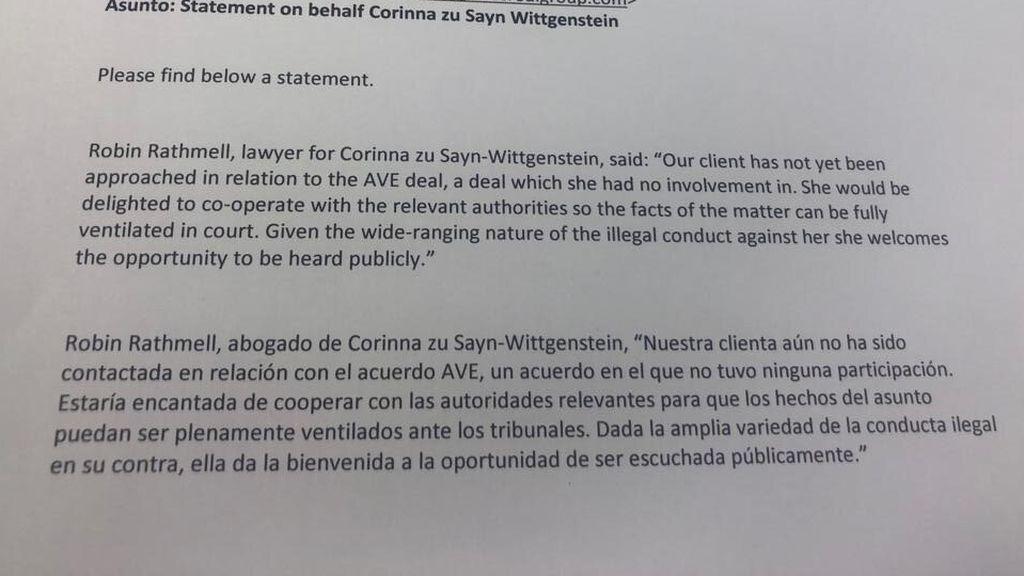 Corinna quiere declarar ante la fiscalía por las comisiones del Ave a la Meca