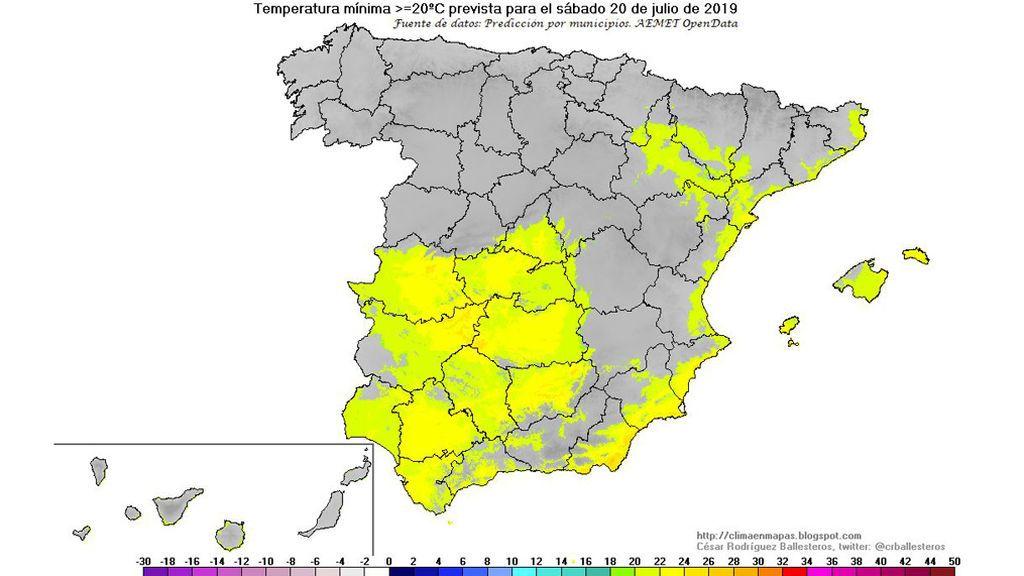 Temperaturas mínimas ≥ 20ºC previstas para el sábado, 20 de julio / @crballesteros