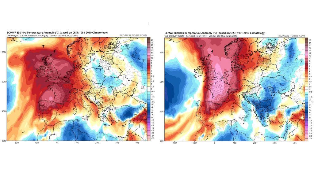 Anomalía de las temperaturas la próxima semana en Europa / Tropical Tidbits