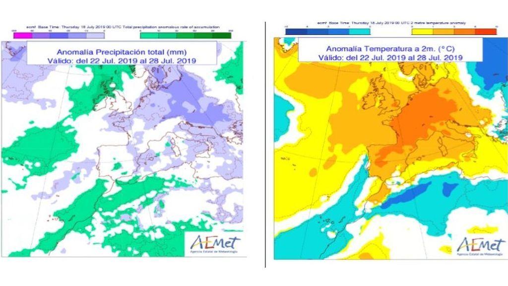 Anomalía de la temperatura y precipitación media prevista para la próxima semana / Aemet