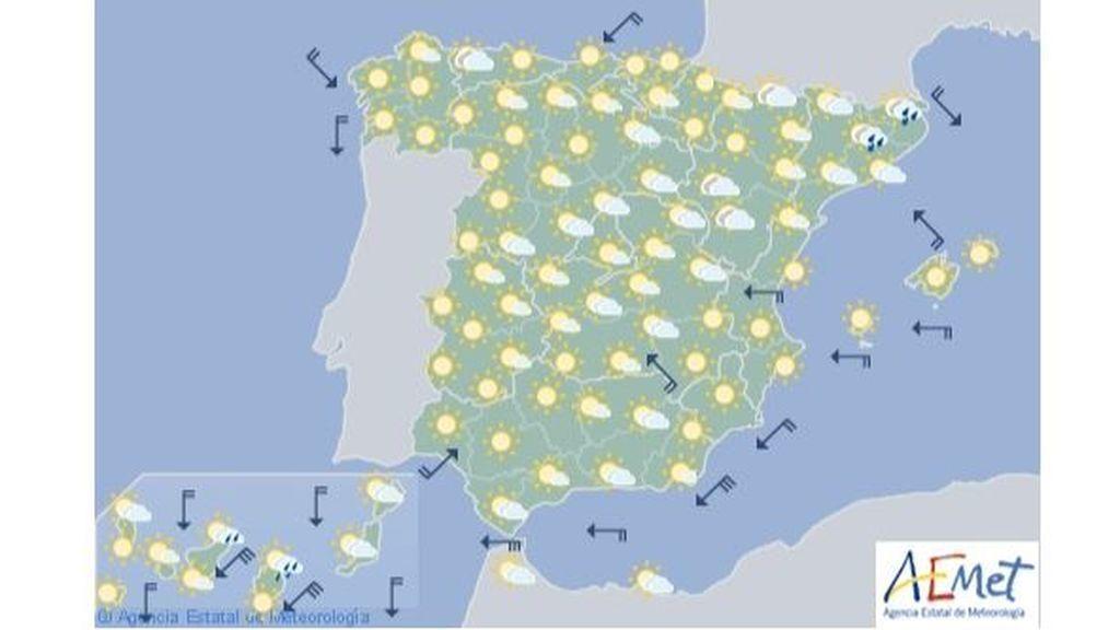 Mapa de previsión para la segunda mitad del viernes, 19 de julio / Aemet