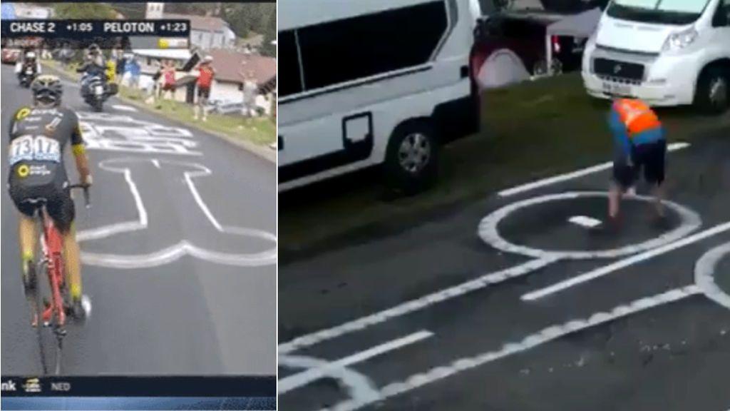 El trabajo más duro del Tour de Francia: Disimula los 'penes' dibujados en la carretera y los convierte en búhos
