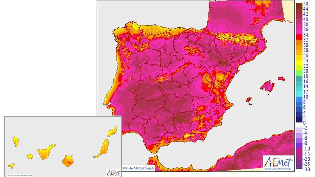 Temperaturas máximas en la península y Canarias el lunes, 22 de julio