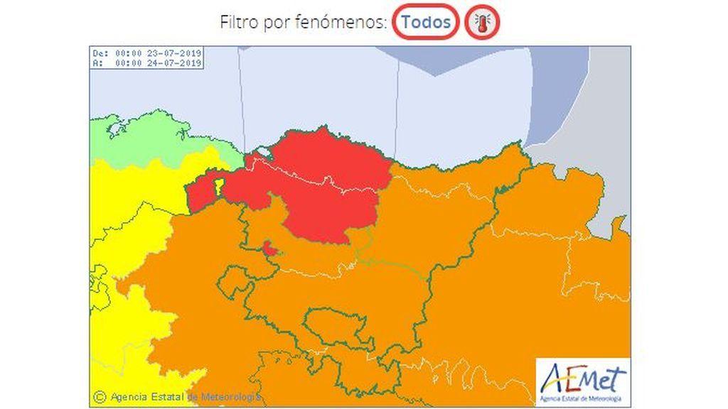 Aviso rojo en la provincia de Vizcaya por riesgo extremo / Aemet