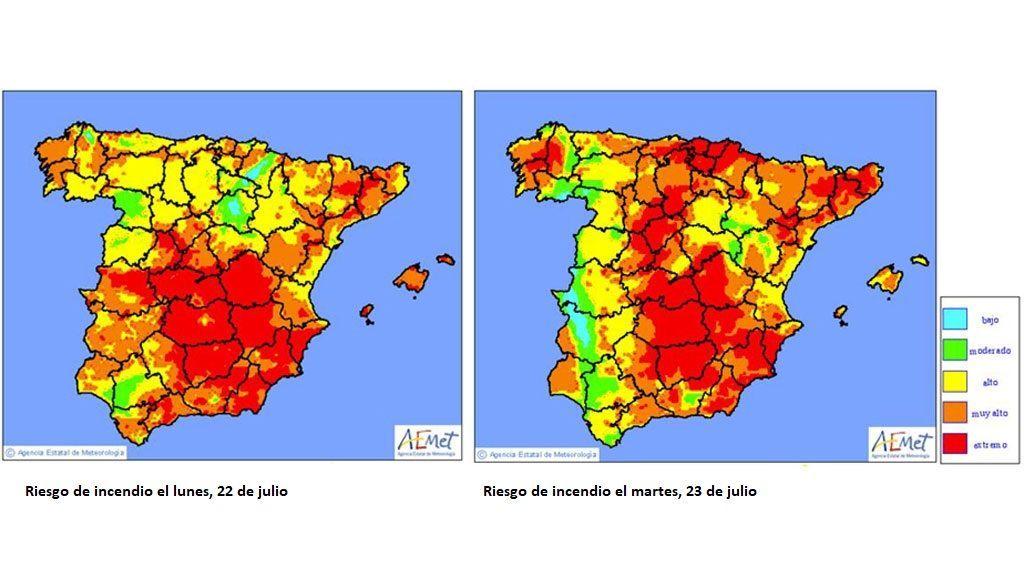 *Imagen: Mapas de niveles de riesgo de incendio previstos para el lunes y martes / Aemet
