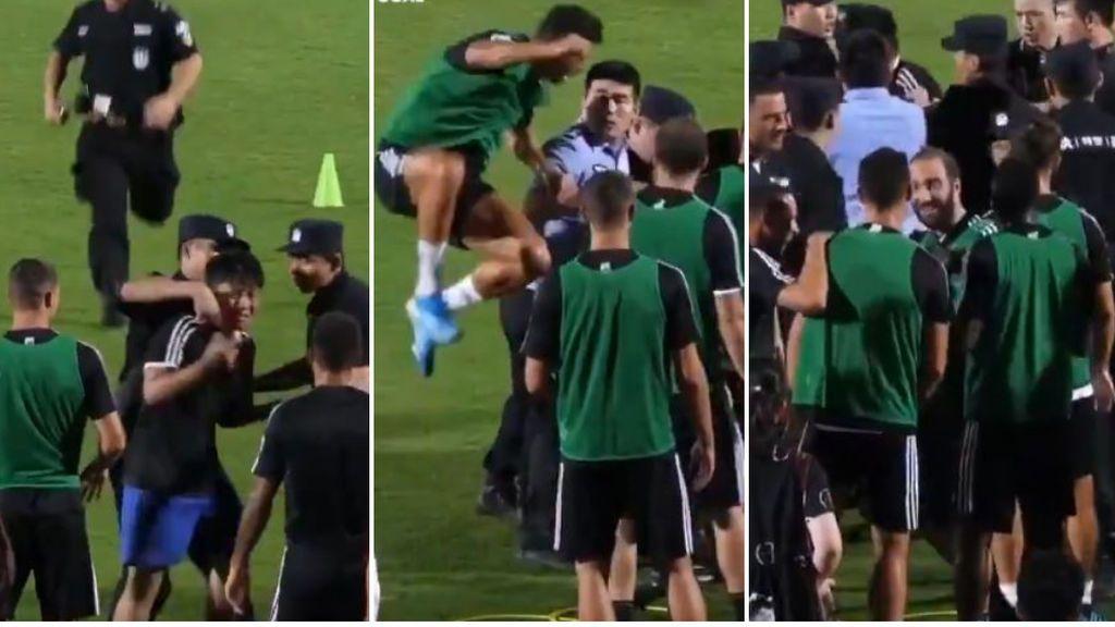 Un chico invade el entrenamiento de la Juve, la policía va a por él y Cristiano se tira encima de un miembro de seguridad