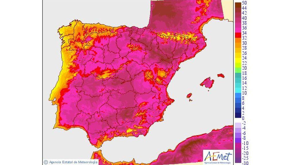 Temperaturas máximas previstas para el martes, 23 de julio / Aemet