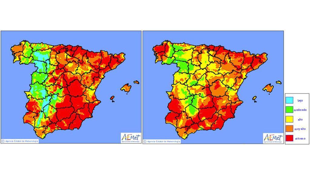 *Imagen: Mapa de niveles de riesgo de incendio previstos para el martes y miércoles, respectivamente / Aemet