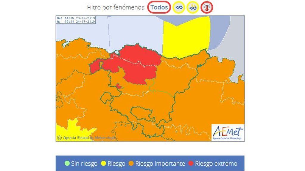 Avisos meteorológicos previstos en el País Vasco para el martes, 23 de julio
