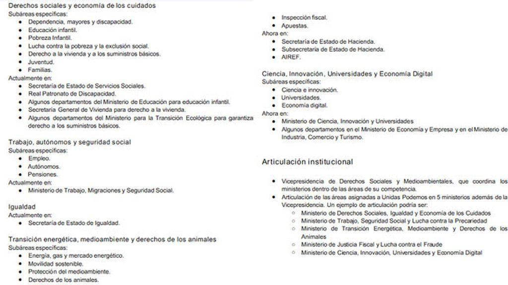 El PSOE desvela el documento con las peticiones de Podemos