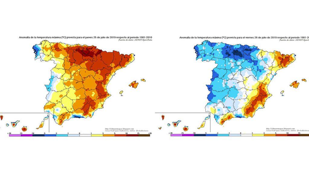 Anomalía de las temperaturas máximas el jueves y viernes, respectivamente / @crballesteros