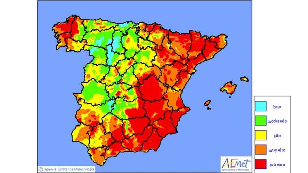 Mapa de niveles de riesgo de incendio previstos para el miércoles, 24 de julio / Aemet