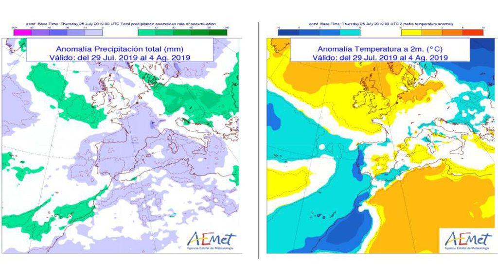 Anomalía de las precipitaciones y temperaturas prevista para la próxima semana / Aemet