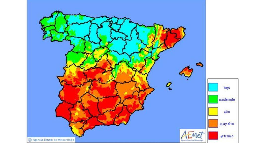 Mapa de niveles de riesgo de incendio previstos para el viernes 26 de julio / Aemet