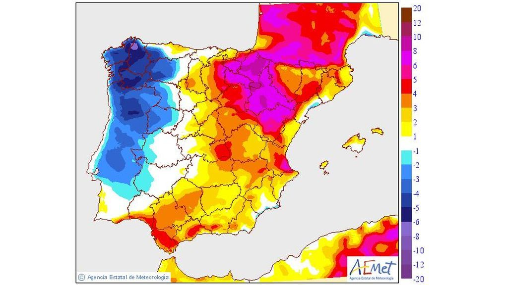 Variación de las temperaturas máximas prevista para el lunes, 29 de julio