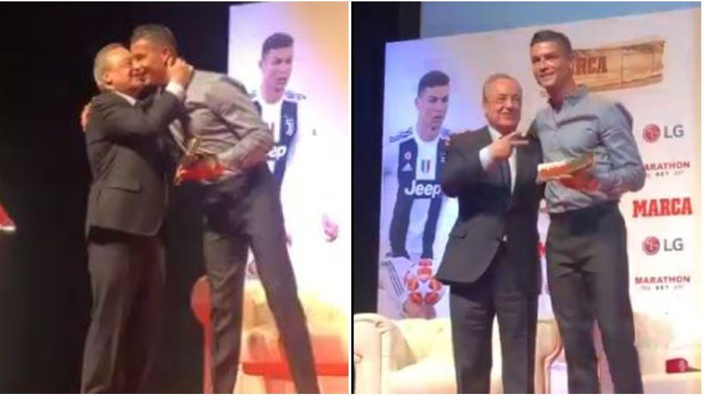 Cristiano y Florentino Pérez se reencuentran tras su salida del Real Madrid con un abrazo y un gesto de victoria