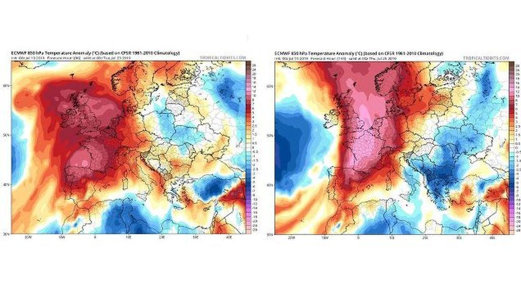 *Imagen: Anomalía de las temperaturas prevista para la próxima semana en Europa / Tropical Tidbits