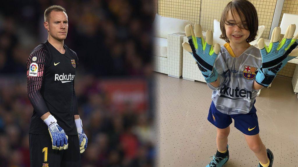 El gesto especial de Ter Stegen con un hijo de Iniesta: Le regala sus guantes