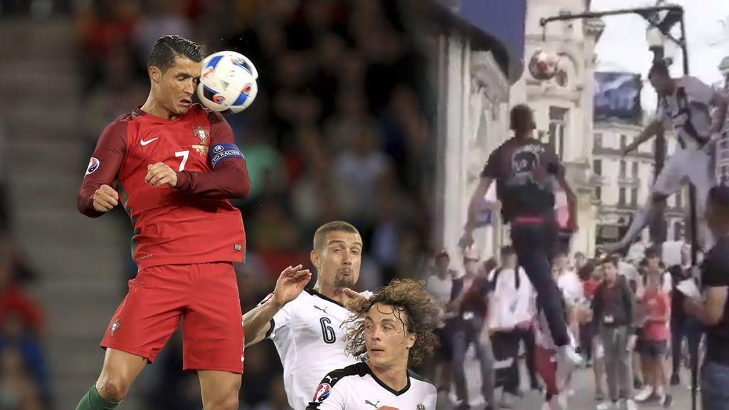 Dos youtubers ofrecen 1.000 euros a cualquiera que iguale el cabezazo de Cristiano Ronaldo ante el Manchester a 2.65 metros de altura
