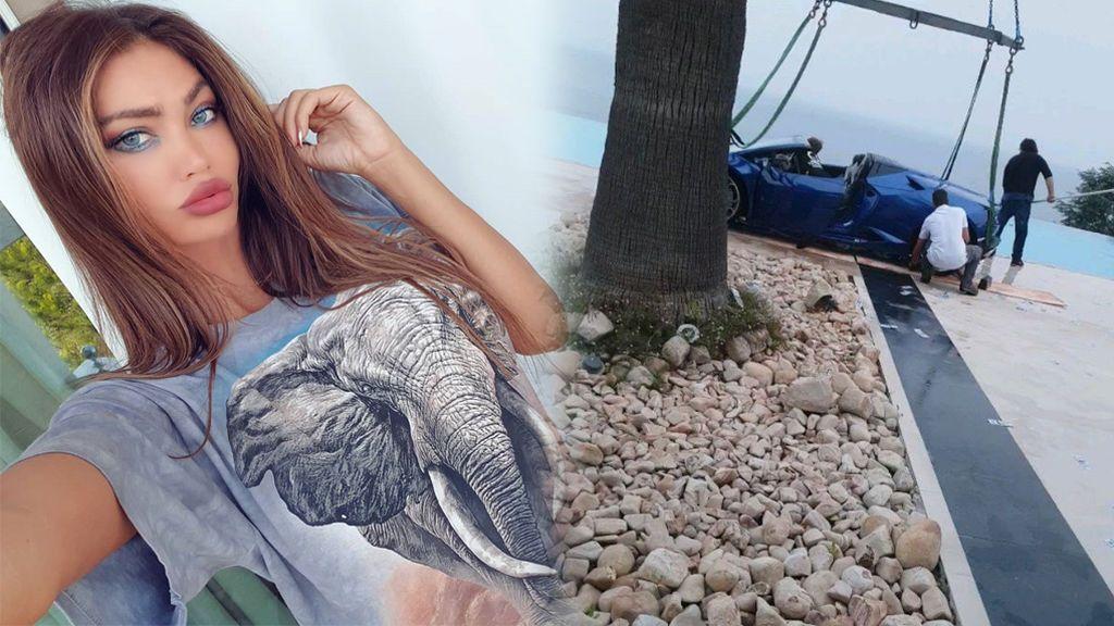 """Una ex 'amiga' de Neymar estrella un Lamborghini contra una piscina: """"Fueron los tacones"""""""