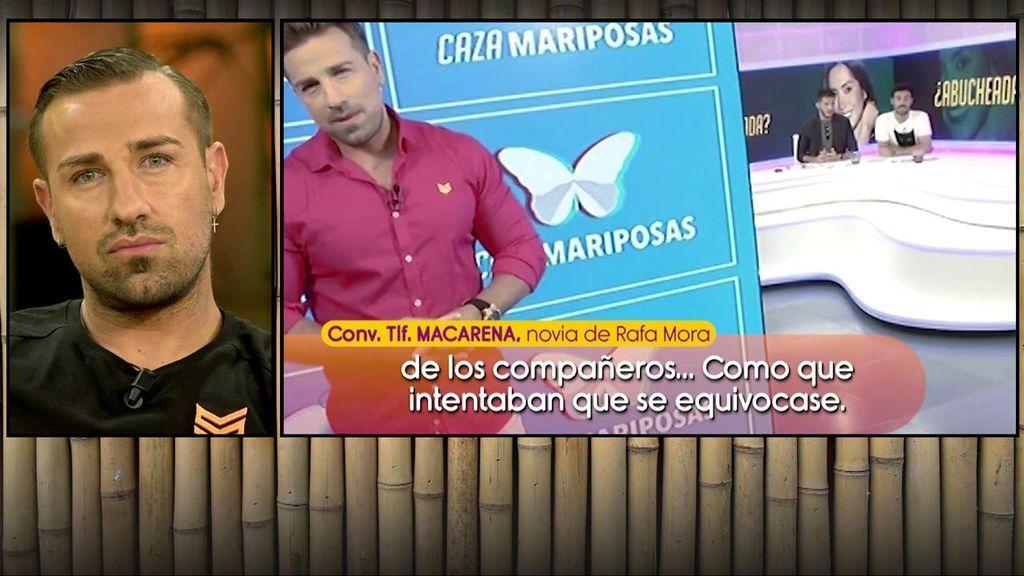 """Macarena, la novia de Rafa Mora, sobre los compañeros de 'Cazamariposas': """"No les hace gracia que esté ahí porque les puede quitar el puesto"""""""