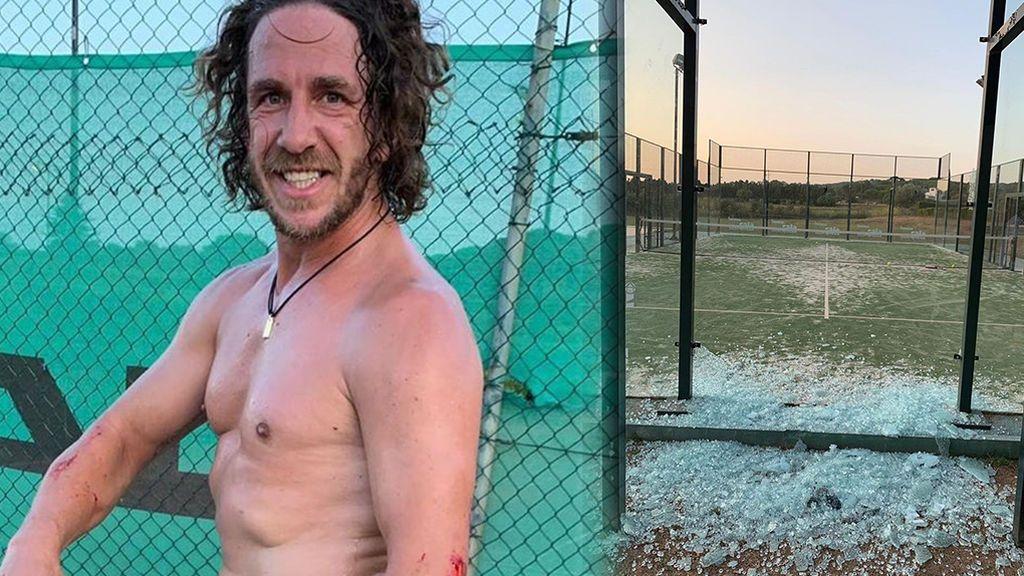 """El aparatoso accidente de Carles Puyol contra un cristal jugando al pádel: """"¿Algún día aprenderé a dosificar?"""""""