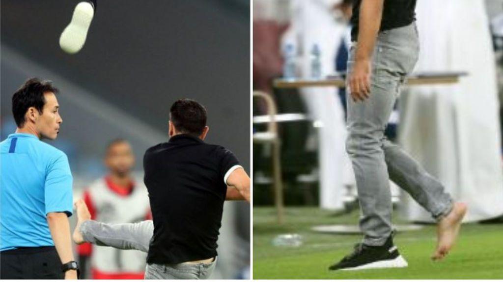 El monumental cabreo de Xavi Hernández en su debut como entrenador: insultos, patada a una botella y acaba descalzo