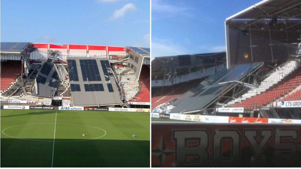 Parte del techo del estadio del AZ Alkmaar se cae sobre una de las gradas: afortunadamente no hay heridos