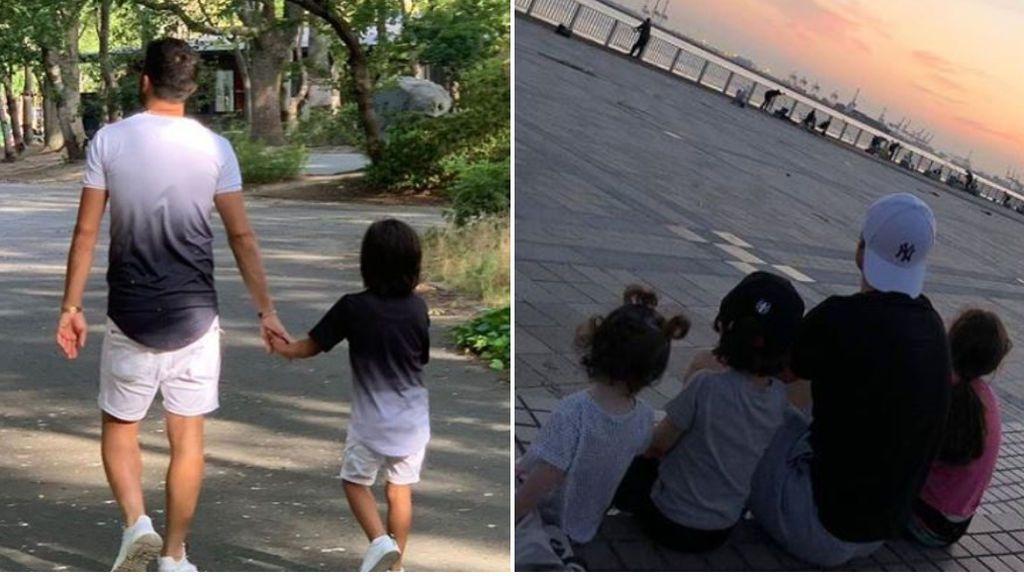 """El tierno abrazo de los hijos de Villa e Iniesta mientras ven a sus padres jugar: """"Lo que unió el fútbol"""""""