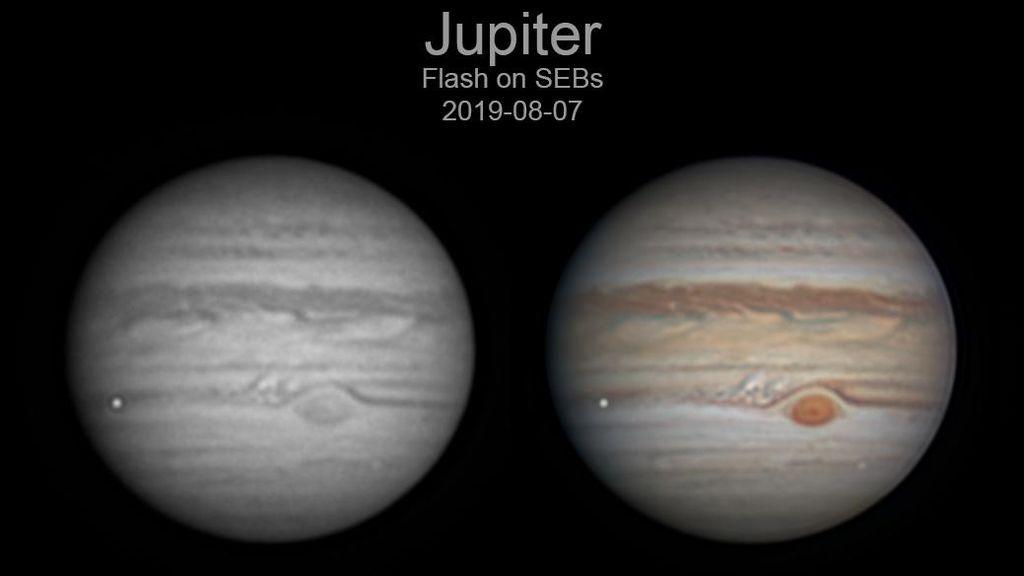 Un astrónomo aficionado capta un objeto al estrellarse contra Júpiter