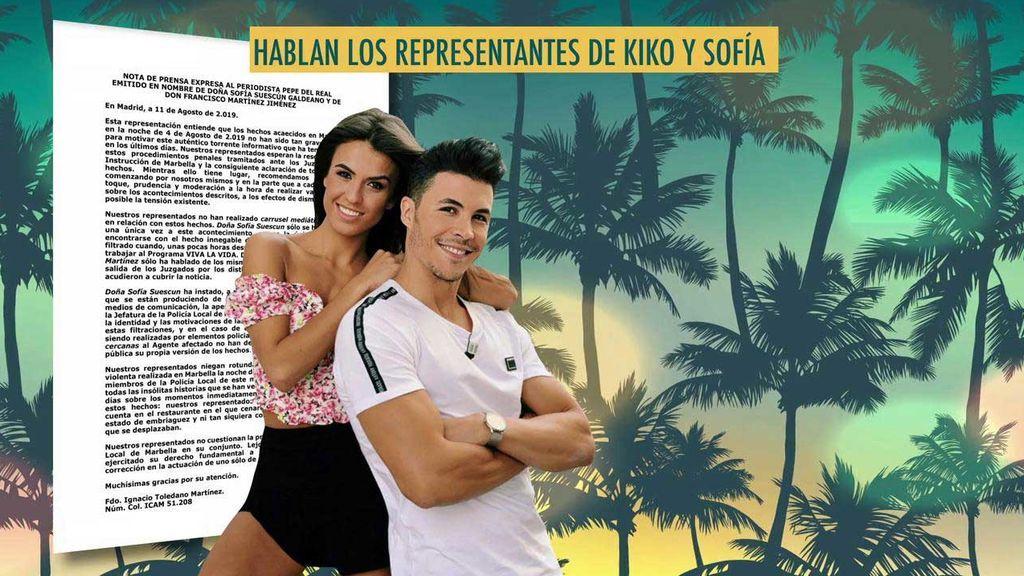 """Los representantes de Sofía y Kiko piden """"prudencia y moderación"""" en un comunicado dirigido a Pepe del Real"""