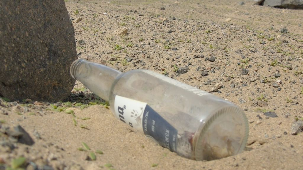 Una botella de cerveza en el desierto, el reflejo del daño a la naturaleza del ser humano