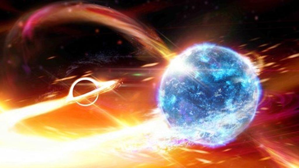 Descripción artística de un agujero negro tragándose una estrella de neutrones
