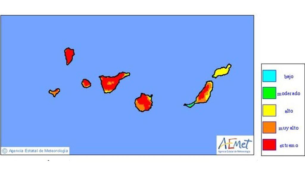 Mapa de niveles de riesgo de incendio previstos para el lunes / Aemet