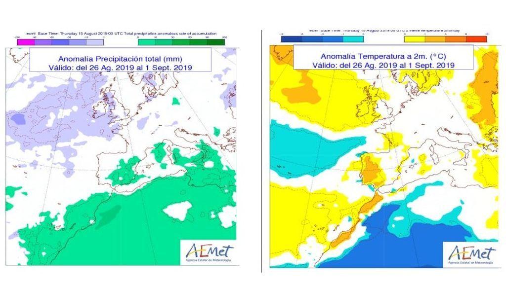 Anomalía de la precipitación y temperatura media del 26 de agosto al 1 de septiembre