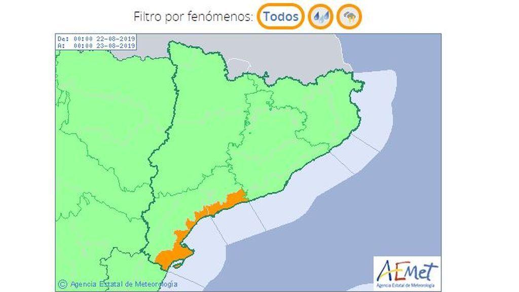 Aviso por tormentas y lluvias en el litoral de Tarragona previsto para la madrugada del jueves / Aemet