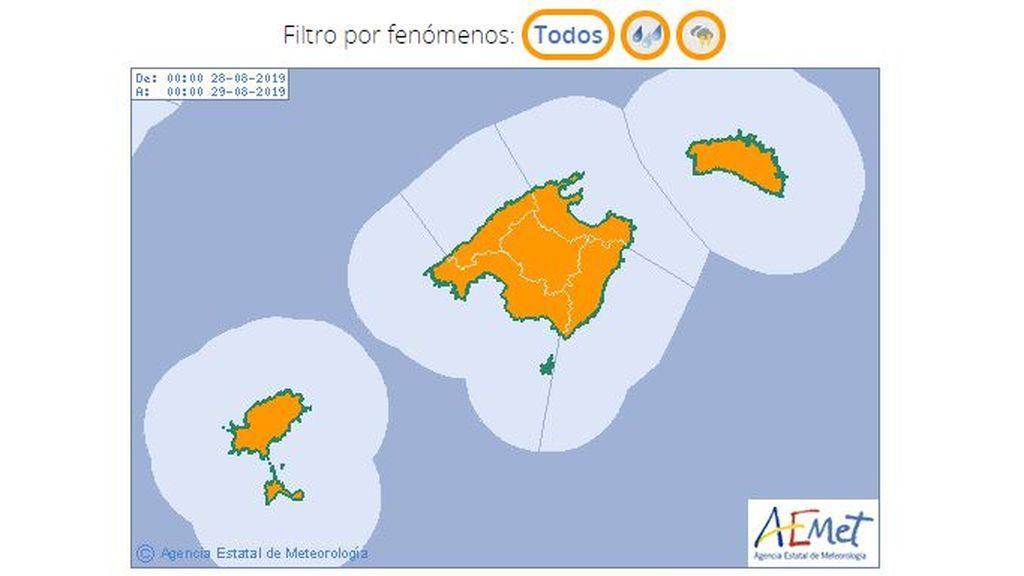 Aviso naranja por tormentas y lluvias en Baleares para el miércoles, 28 de agosto / Aemet