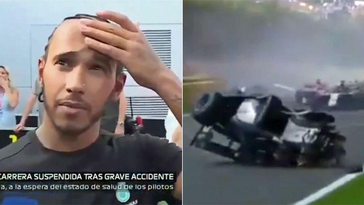 """La reacción de Lewis Hamilton al presenciar en directo el accidente mortal del piloto Anthoine Hubert: """"¡Ay,ay!"""""""