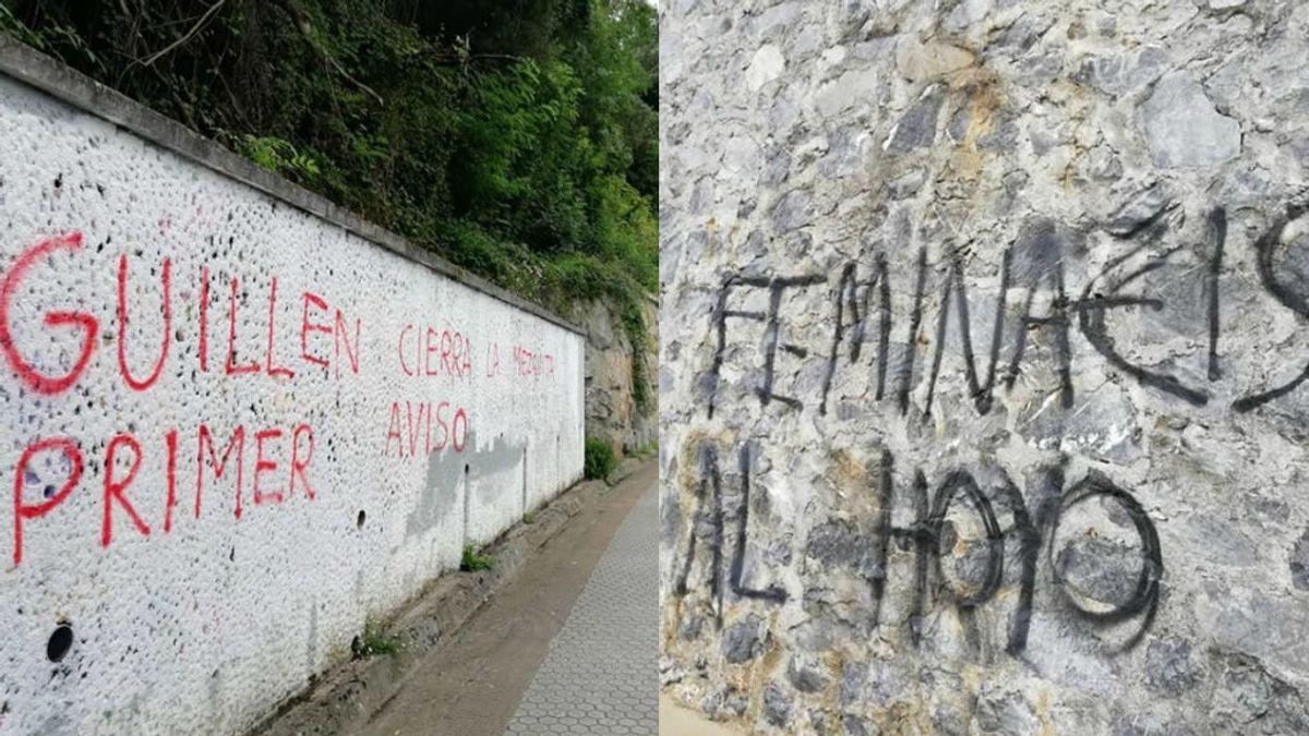 Aparecen pintadas en varios puntos de Deba con amenazas al alcalde y contenido racista