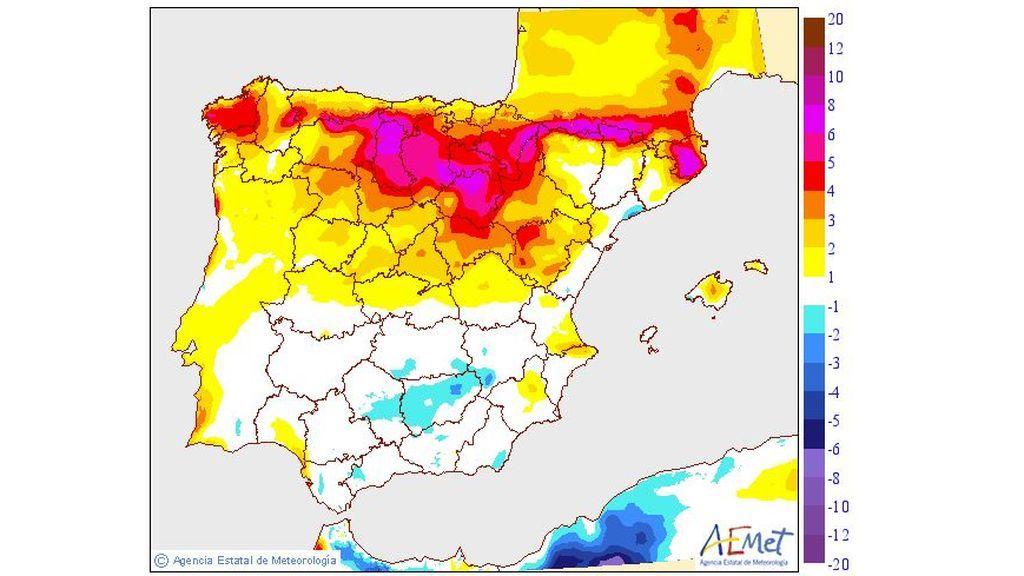 Variación de las temperaturas máximas prevista para el martes, 3 de septiembre / Aemet