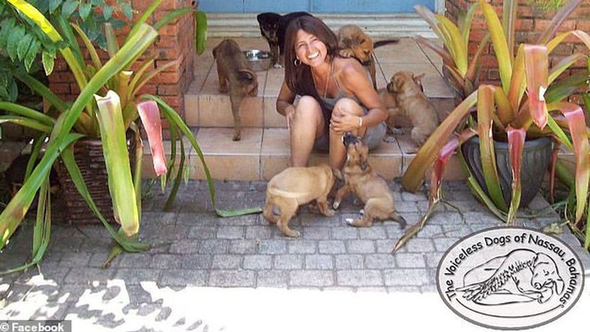 Chella Philips junto a perros rescatados por The Voiceless Dogs of Nassau (Bahamas)
