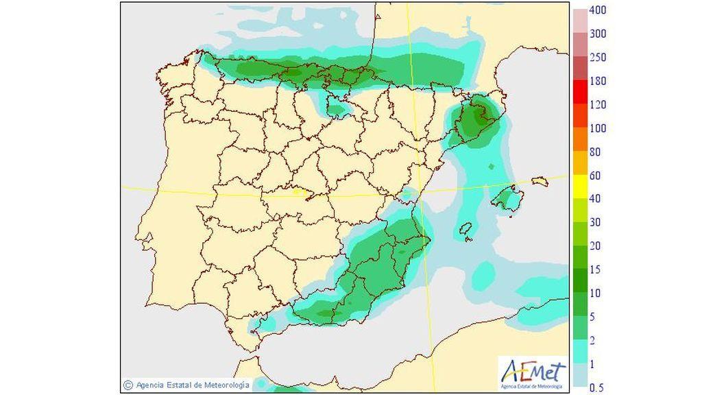 Precipitación media prevista para el jueves, 5 de septiembre / Aemet